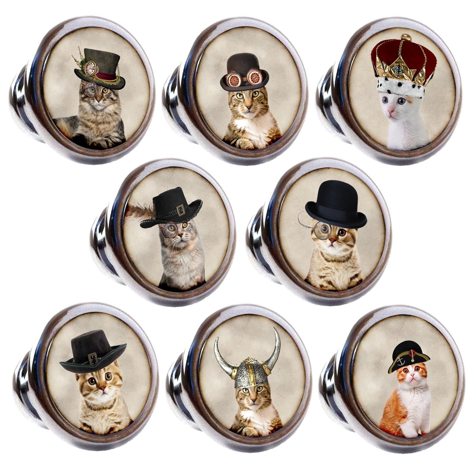 Zinc Alloy Knobs Cats In Hats Mm Cupboard Drawer Door Handles