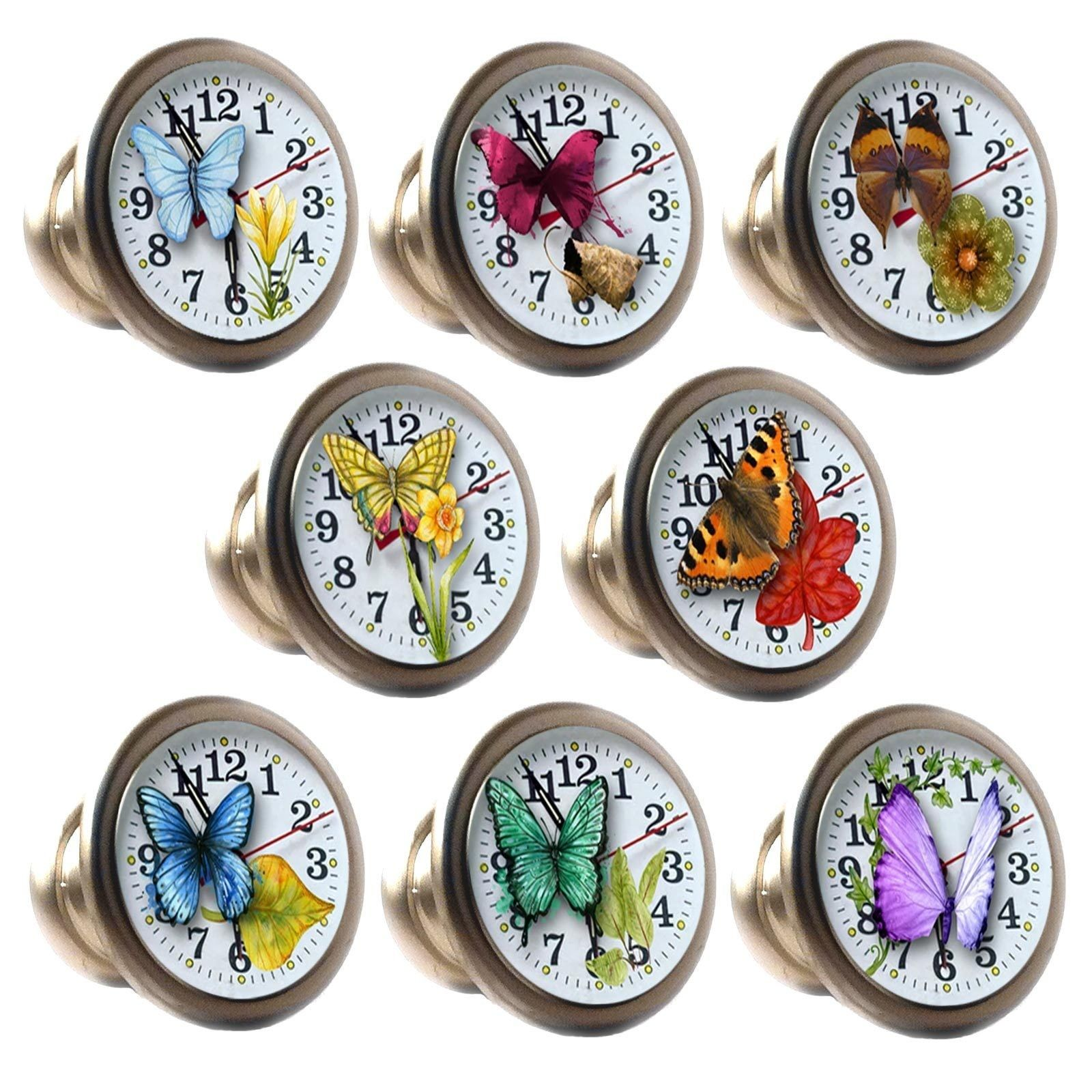 zinc alloy knobs butterfly clocks 30mm cupboard drawer door